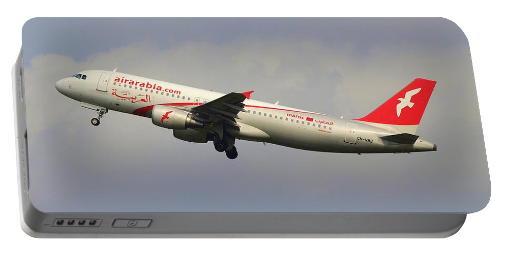 Cn-nmb Air Arabia Maroc Airbus A320-214 - Cn 3833 Take-off 14julair Portable Battery Charger featuring the photograph Air Arabia Maroc Airbus A320 by Paul Fearn