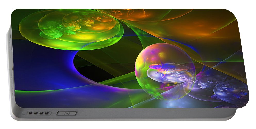 Blue Portable Battery Charger featuring the photograph Computer Generated Sphere Abstract Fractal Flame Modern Art by Keith Webber Jr