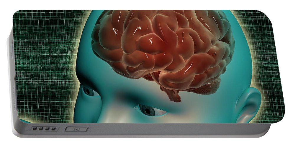 Horizontal Portable Battery Charger featuring the digital art Conceptual Image Of Female Body by Stocktrek Images