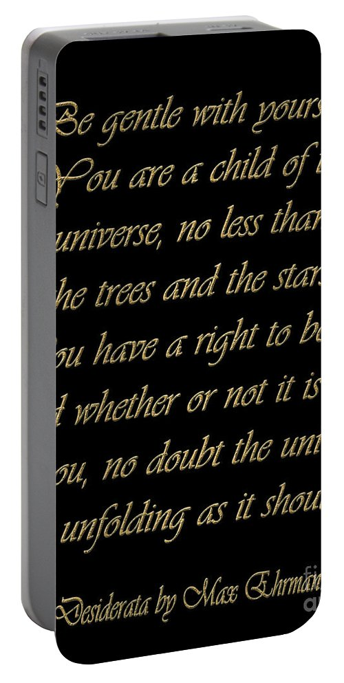Desiderata Portable Battery Charger featuring the digital art Desiderata by Voros Edit
