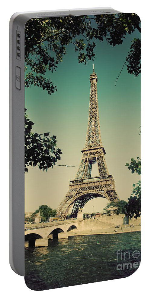 Eiffel Portable Battery Charger featuring the photograph Eiffel Tower And Bridge On Seine River In Paris by Michal Bednarek