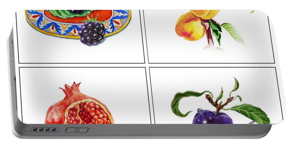 Pamegranate Portable Battery Charger featuring the painting Farmers Market Delight by Irina Sztukowski