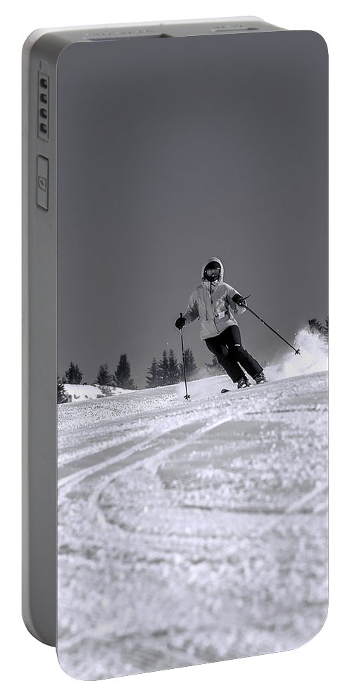 Blue Portable Battery Charger featuring the photograph First Run by Sebastian Musial