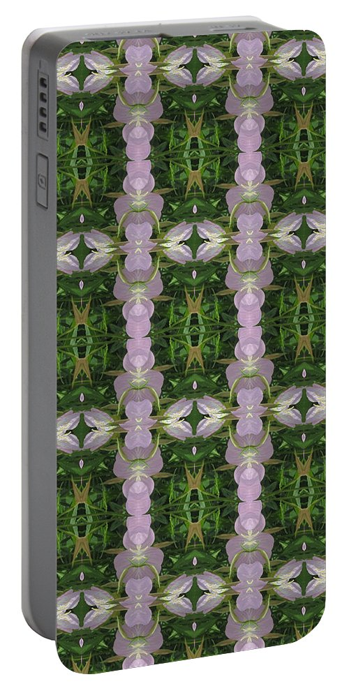 Heart Portable Battery Charger featuring the photograph Flowers From Cherryhill Nj America Silken Sparkle Purple Tone Graphically Enhanced Innovative Patter by Navin Joshi