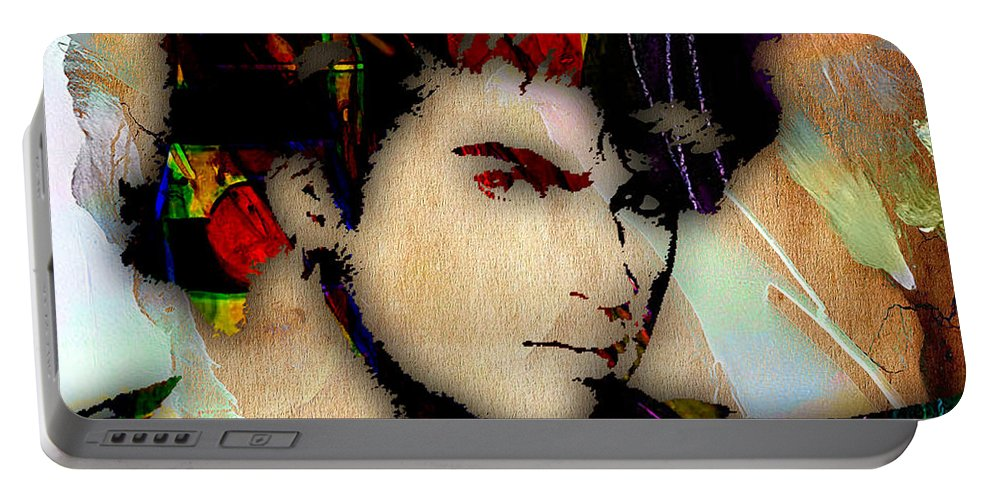 George Michael Portable Battery Charger featuring the mixed media George Michael Collection by Marvin Blaine