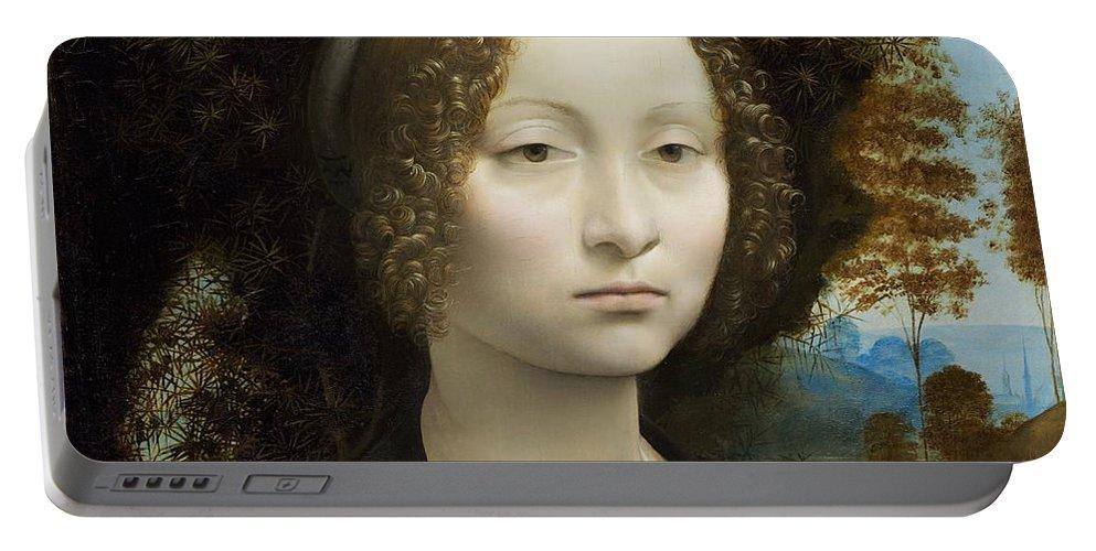 Leonardo Da Vinci Portable Battery Charger featuring the painting Ginevra De' Benci by Leonardo Da Vinci