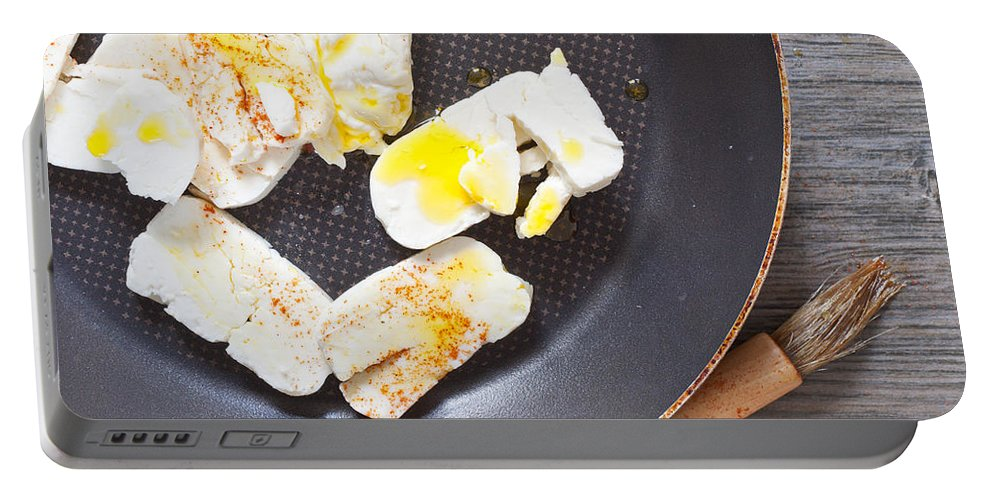 Bowl Portable Battery Charger featuring the photograph Halloumi Cheese by Tom Gowanlock