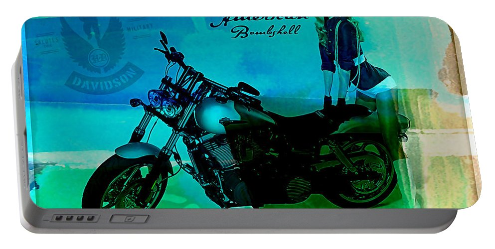 Harley Digital Art Mixed Media Portable Battery Charger featuring the mixed media Harley Davidson Ad by Marvin Blaine