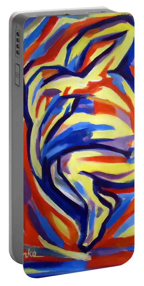 Abstract Figures Portable Battery Charger featuring the painting Here by Helena Wierzbicki