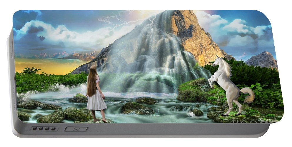 White Horse Mountain Top Waterfalls Portable Battery Charger featuring the digital art Living Waters by Dolores Develde