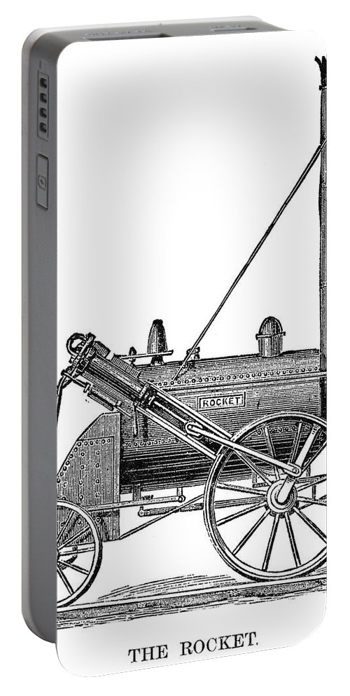 1829 Portable Battery Charger featuring the painting Locomotive Rocket, 1829 by Granger
