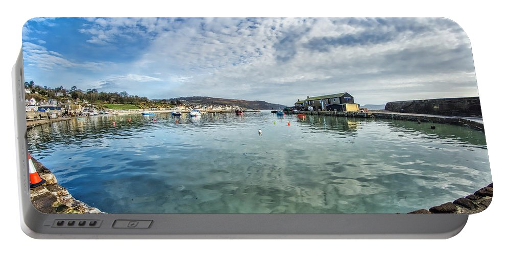 Alto-cumulus Portable Battery Charger featuring the photograph Lyme Regis Harbour by Susie Peek