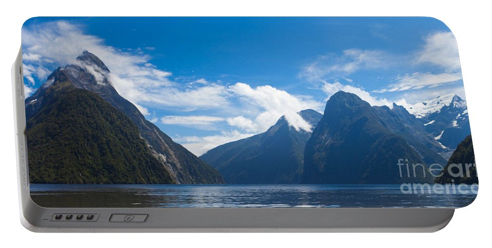 Mount Portable Battery Charger featuring the photograph Milford Sound And Mitre Peak In Fjordland Np Nz by Stephan Pietzko