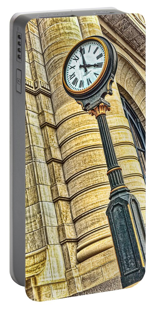 4 O'clock Portable Battery Charger featuring the photograph 4 O'clock Train by Sennie Pierson