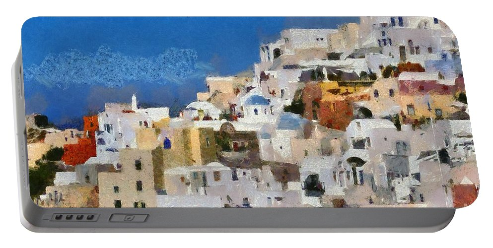 Santorini Portable Battery Charger featuring the painting Oia Town by George Atsametakis