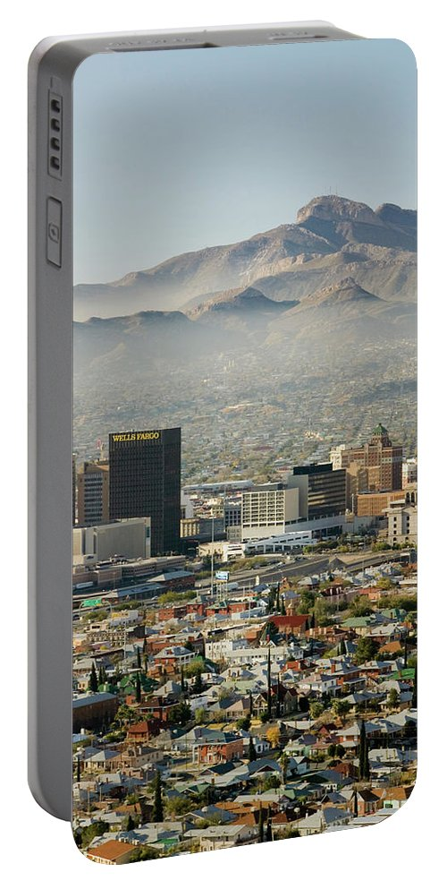 Photography Portable Battery Charger featuring the photograph Panoramic View Of Skyline And Downtown by Panoramic Images