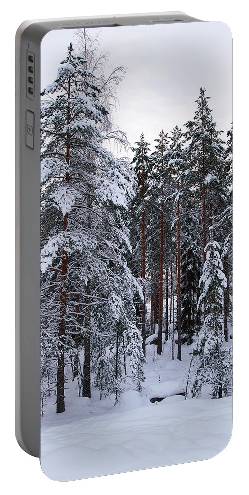 Lehto Portable Battery Charger featuring the photograph Pine Forest Winter by Jouko Lehto