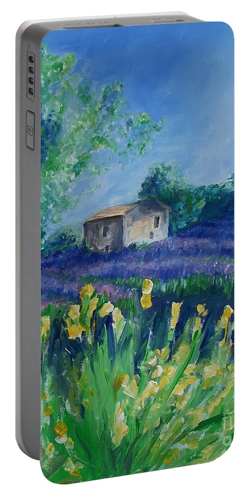 Provence Portable Battery Charger featuring the painting Provence Lavender Field by Eric Schiabor
