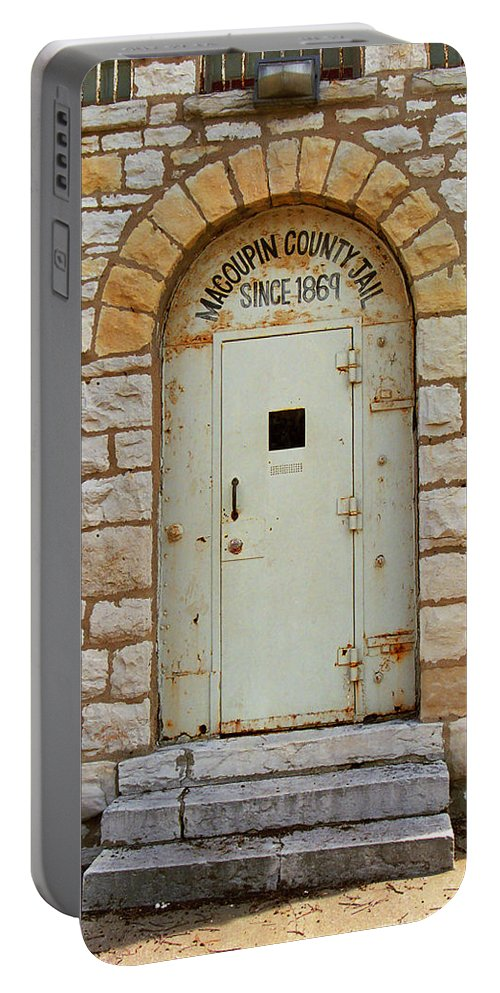 66 Portable Battery Charger featuring the photograph Route 66 - Macoupin County Jail by Frank Romeo