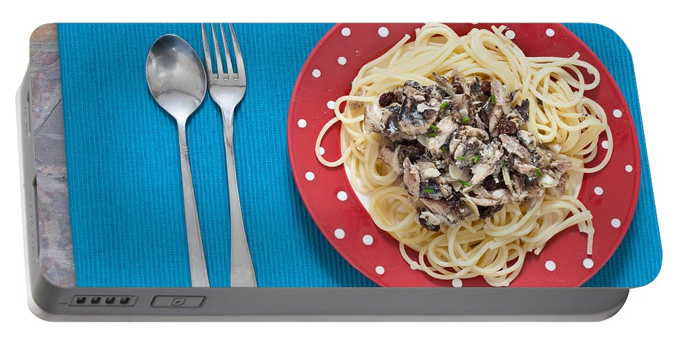 Above Portable Battery Charger featuring the photograph Sardines And Spaghetti by Tom Gowanlock