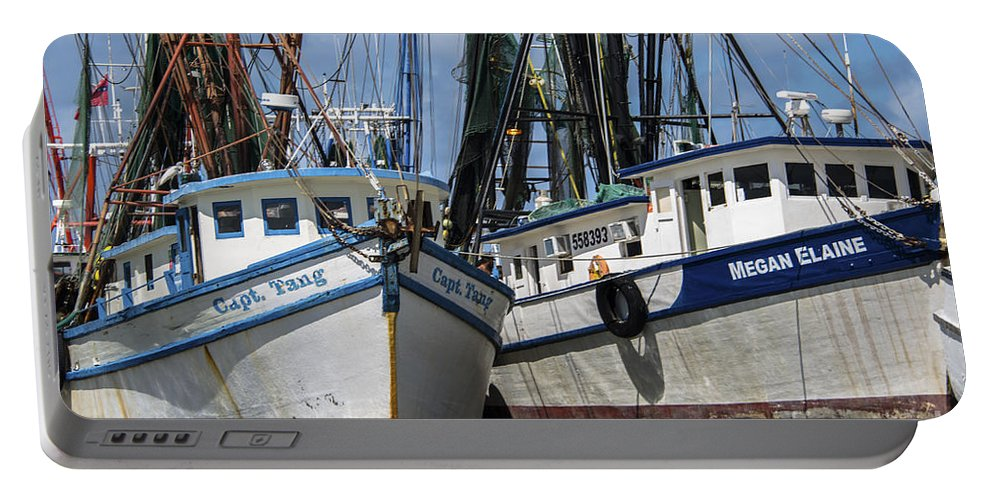 Shrimp Boats Portable Battery Charger featuring the photograph Capt. Tang And Megan Elaine by Dale Powell