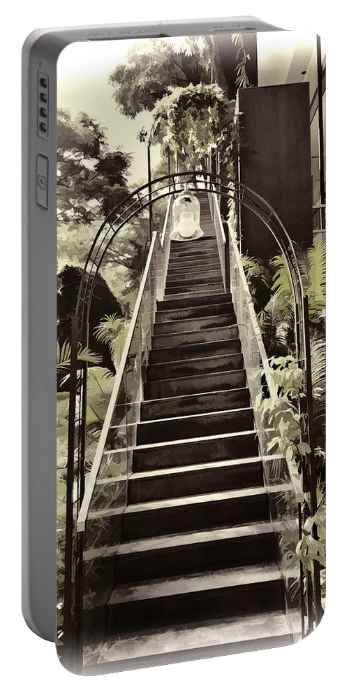 Asia Portable Battery Charger featuring the photograph Staircase Leading To A Higher Level In Siloso Hotel In Sentosa by Ashish Agarwal