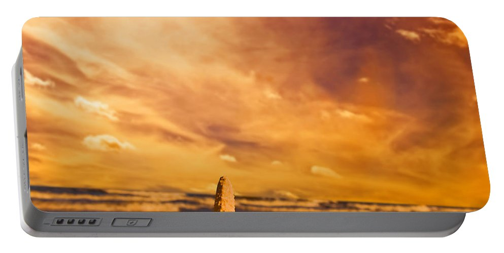 Summer Portable Battery Charger featuring the photograph Starfish On The Beach At Sunset by Michal Bednarek