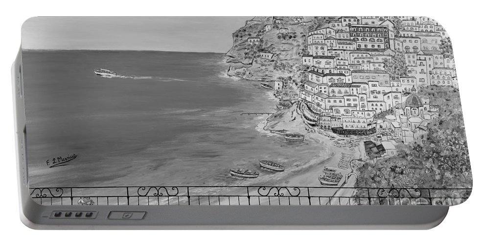 Drawing Portable Battery Charger featuring the painting Vista Su Positano by Loredana Messina