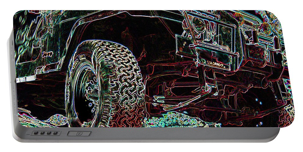 4 Wheelin Portable Battery Charger featuring the digital art 4 Wheelin by Ernie Echols