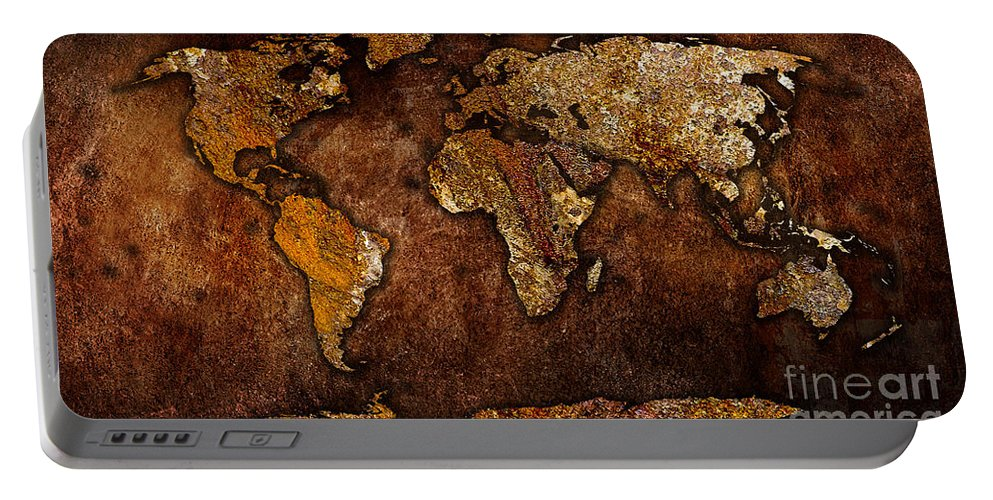 Map Of The World Digital Art Mixed Media Mixed Media Portable Battery Charger featuring the mixed media World Map by Marvin Blaine