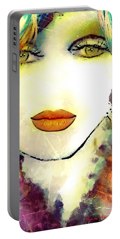 Anette Portable Battery Charger featuring the painting Anette by Pikotine Art