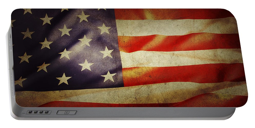 Flag Portable Battery Charger featuring the photograph American Flag by Les Cunliffe
