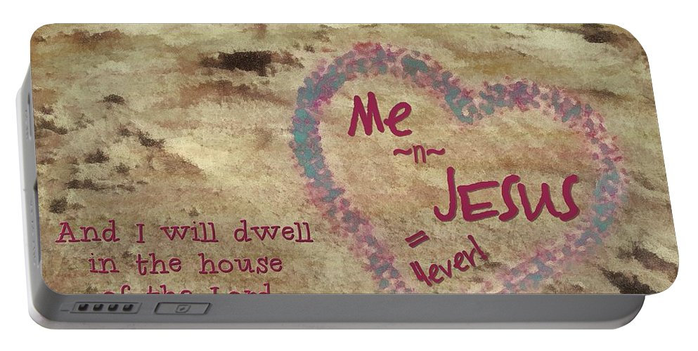 Jesus Portable Battery Charger featuring the digital art 4ever by Michelle Greene Wheeler