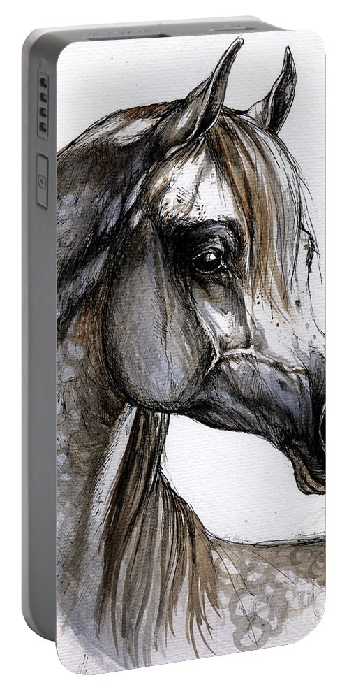 Horse Portable Battery Charger featuring the painting Arabian Horse by Angel Ciesniarska