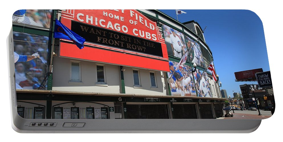 Addison Portable Battery Charger featuring the photograph Chicago Cubs - Wrigley Field by Frank Romeo