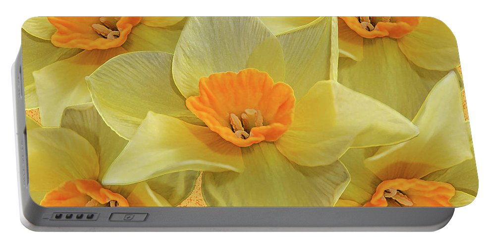 Andee Design Daffodils Portable Battery Charger featuring the photograph 5 Daffy's On Parade by Andee Design