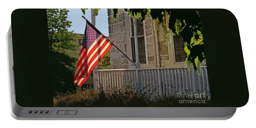 United States Flags Portable Battery Charger featuring the photograph Dawn's Early Light by Geoff Crego