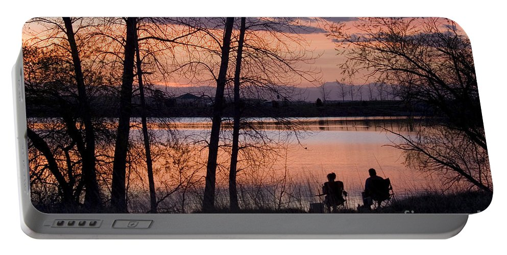 Colorado Portable Battery Charger featuring the photograph Fly Fishing At Sunset by Steve Krull