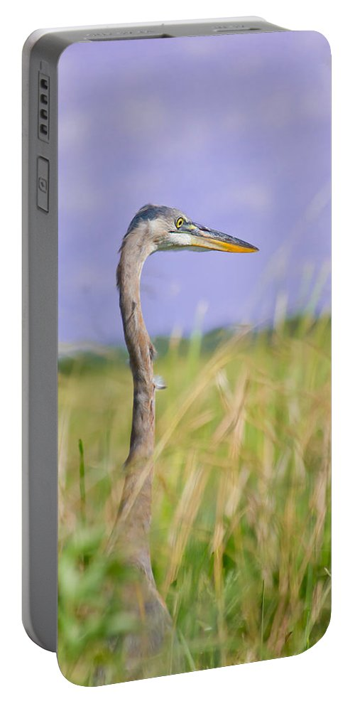 Great Blue Heron Portable Battery Charger featuring the photograph Great Blue Heron On The Prairie by Mark Andrew Thomas