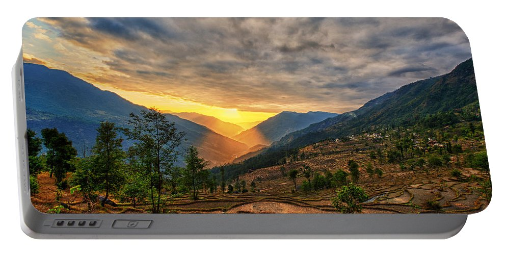 Adventure Portable Battery Charger featuring the photograph Kalinchok Kathmandu Valley Nepal by U Schade