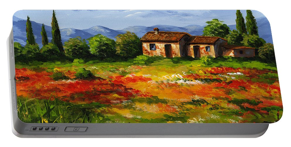 Landscape Portable Battery Charger featuring the painting Mediterranean Landscape by Edit Voros
