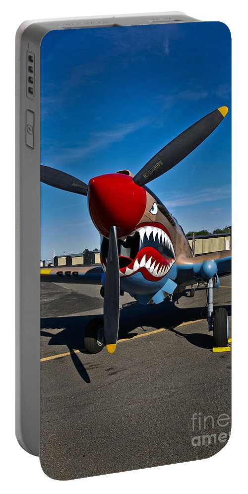 Vertical Portable Battery Charger featuring the photograph Nose Art On A Curtiss P-40e Warhawk by Scott Germain
