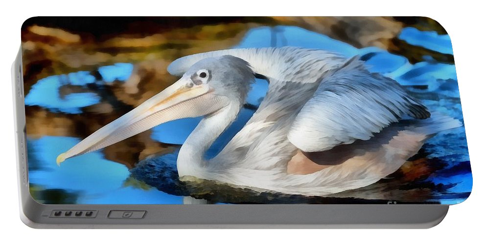 Pink Backed Pelican Portable Battery Charger featuring the painting Pink Backed Pelican by George Atsametakis