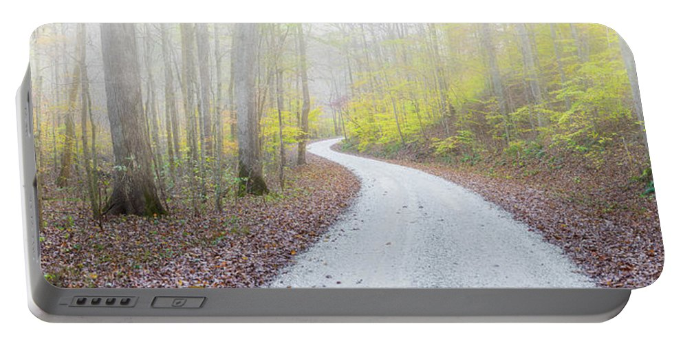 Photography Portable Battery Charger featuring the photograph Road Passing Through A Forest by Panoramic Images