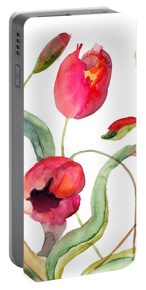 Art Portable Battery Charger featuring the painting Tulips Flowers by Regina Jershova