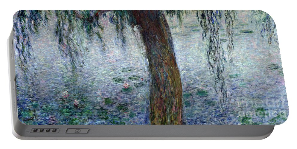 Impressionist Portable Battery Charger featuring the painting Waterlilies Morning With Weeping Willows by Claude Monet