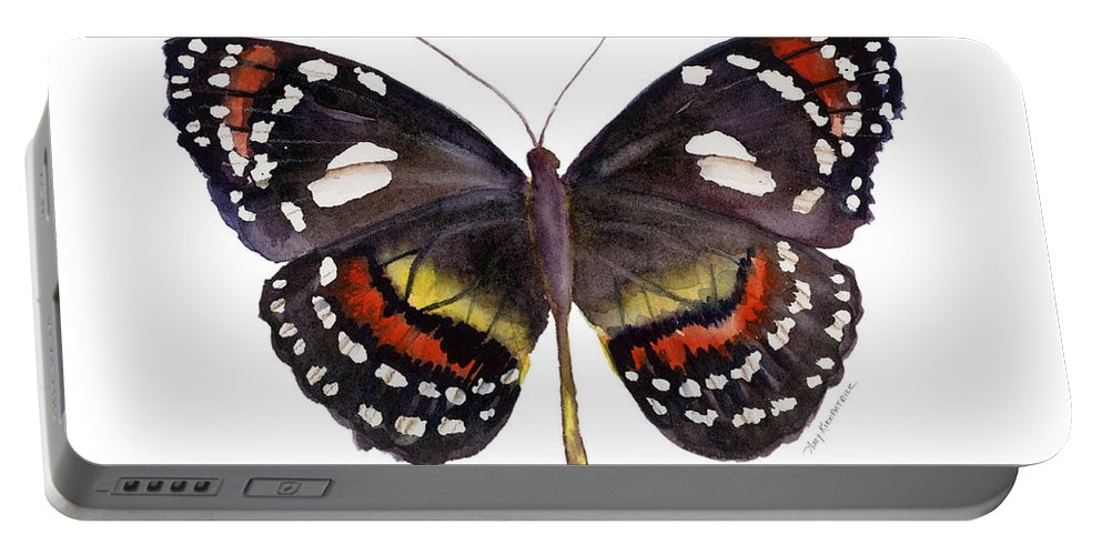 Elzunia Portable Battery Charger featuring the painting 50 Elzunia Bonplandii Butterfly by Amy Kirkpatrick