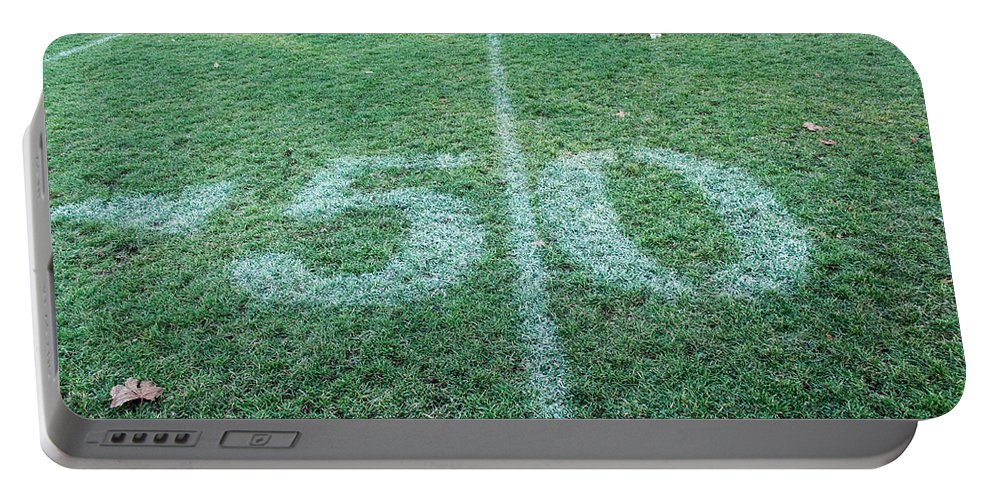 Football Field Portable Battery Charger featuring the photograph 50 Yard Mascot by Keith Armstrong