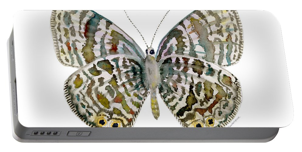 Lang Portable Battery Charger featuring the painting 51 Lang's Short-tailed Blue Butterfly by Amy Kirkpatrick