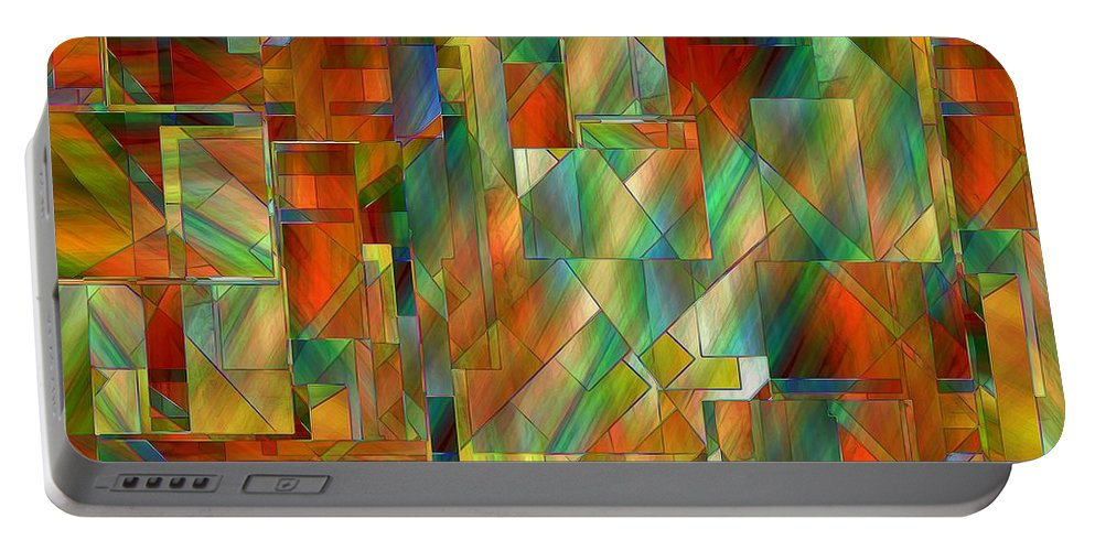 Abstract Portable Battery Charger featuring the painting 53 Doors by RC DeWinter